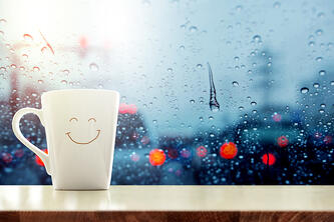 happy mug in rain