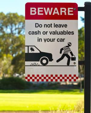 beware of theft sign