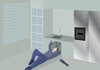 animated man repairing sink