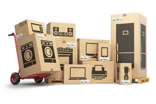 moving boxes with pictures of items