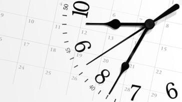 ticking timeclock on calendar