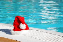 Santa hat by pool