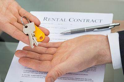 rental contract and handing over keys